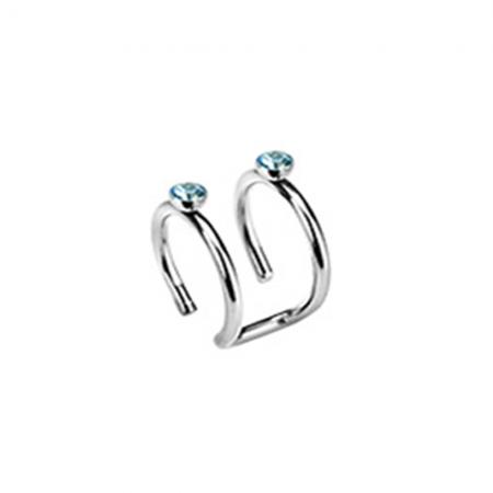 Aqua Crystal Double Ring Ear Cuff
