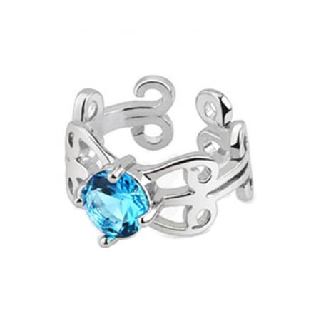 Aqua Crystal Heart Swirl Ear Cuff